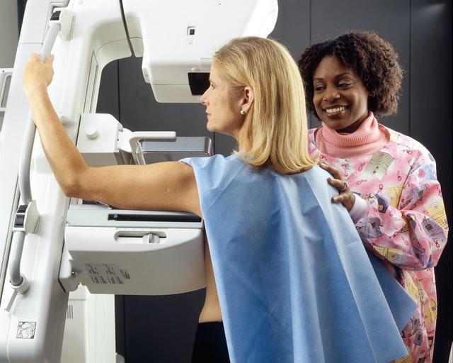 A patient during her breast cancer screening through a mammogram, Breast Cancer Screening Coffs Harbour